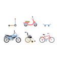 skateboard and scooter bicycle and wheelchair vector image vector image