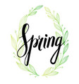 spring wording with floral elements vector image vector image