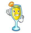 thumbs up mimosa character cartoon style vector image vector image