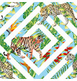 tiger leopard seamless tropical leaves vector image vector image