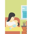 Woman with new born in maternity ward vector image