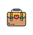 women bag female briefcase flat color line vector image vector image