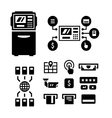 Set icons of ATM vector image