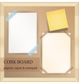 white and yellow papers with transparent tapes and vector image