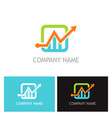 arrow progress business finance logo vector image vector image