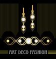 art deco golden jewel set earrings and brooch vector image vector image