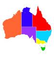 australia states in colour silhouette