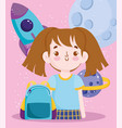 back to school student girl rocket science lesson vector image vector image