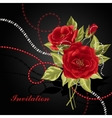 Beautiful bouquet of roses with beads vector image