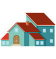 blue house with red roof vector image vector image