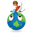 Boy surfing on earth globe