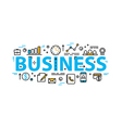 Business word flat style banner with thin line
