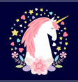 cartoon character unicorn with flowers vector image vector image