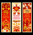 chinese new year symbols greeting banners vector image vector image