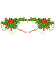 christmas garland on white vector image vector image