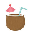 coconut cocktail with umbrella and straw isolated vector image