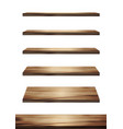 collection wooden shelves on an isolated white vector image vector image