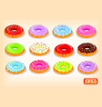 colorful donuts with a flowing glaze vector image