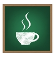 Cup of coffee sign White chalk effect on green vector image vector image