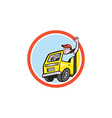 Delivery Truck Driver Waving Circle Cartoon