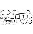 doodle design element lines arrows vector image vector image