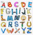 english alphabet cartoon style vector image