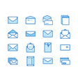 envelopes flat line icons mail message open vector image vector image