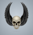 Evil skull with wings up vector image vector image