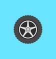 flat car wheel with disc icon on blue vector image vector image