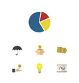 flat icon finance set of parasol money box cash vector image vector image
