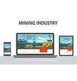 flat mining industry adaptive design concept vector image vector image