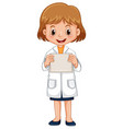 girl in science gown holding white paper vector image vector image