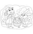 girl with easter bunny vector image vector image