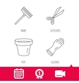 Gloves scissors and pot icons vector image vector image