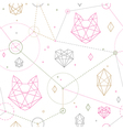 hipster cat pattern vector image vector image