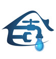 house and faucet with a drop of water vector image vector image