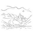 linear sketch of cerro torre mountain massif vector image
