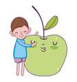 little boy with apple kawaii character vector image vector image