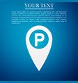map pointer with car parking sign icon isolated vector image vector image