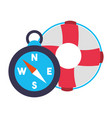 maritime compass hat and lifebuoy vector image vector image