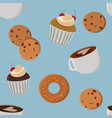 mugs cookies and muffins bakery seamless pattern vector image vector image
