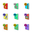 multimedia file icons set cartoon style vector image vector image