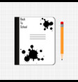 notebook and pencil on checkered background vector image