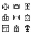 open window icons set simple style vector image vector image