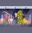 people dancing near christmas tree merry xmas vector image vector image
