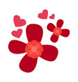 red flowers with heart shapes vector image vector image
