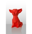 Red Low-poly dog vector image vector image