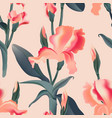 Seamless pattern floral background irises leaves