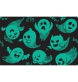 Seamless pattern with various spooky ghosts vector image