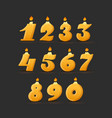 set colorful birthday candle numbers wick vector image